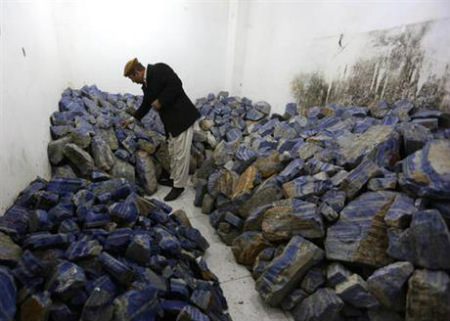 The brilliant blue stone lapis lazuli, prized for millennia, is almost uniquely found in Afghanistan
