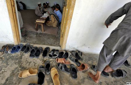 Students recite Koranic verses at an Islamic madrasah on May 10, near Abbottabad, Pakistan