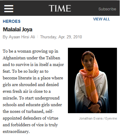 Malalai Joya on Time 100