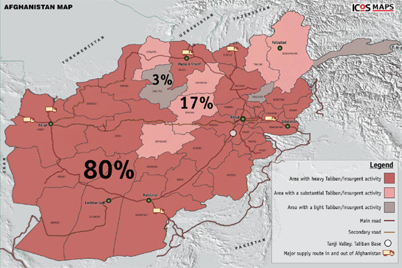 Map, Taliban in 80% of Afghanistan