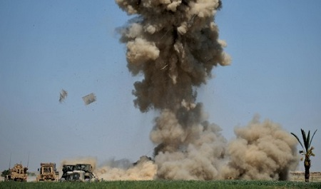 U.S. Marines detonate an