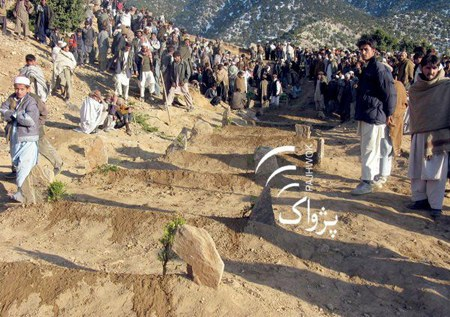Villagers digging graves for the dead