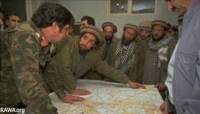 Ahmad Shah Massoud with Parchamis generals