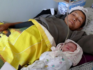 Mother with newborn child