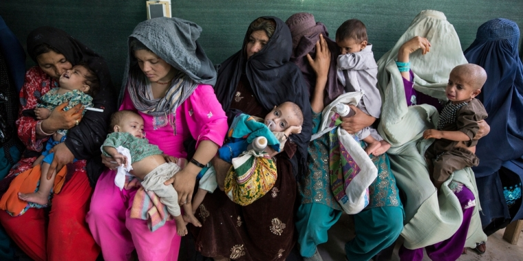 Mothers and children at Boost Hospital, Helmand Province, Afghanistan, in 2014