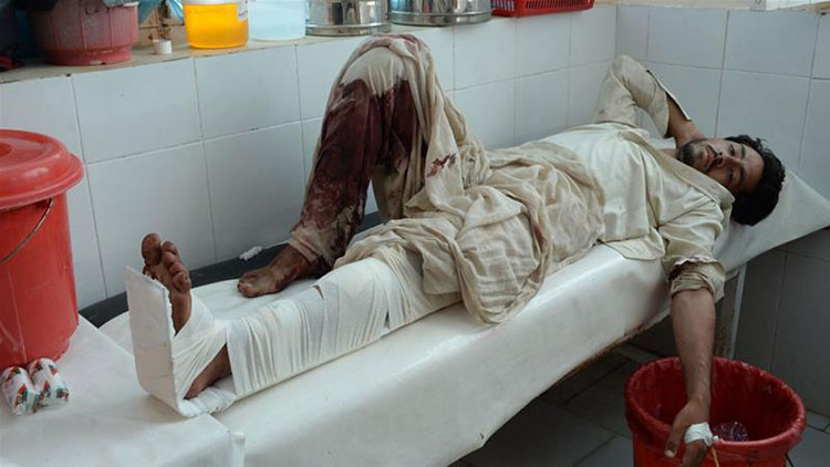 Medical staff have struggled to treat people wounded by the powerful blast in Nangarhar province