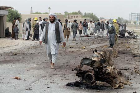 Six children were killed in a blast which targeted the governor of Kandahar