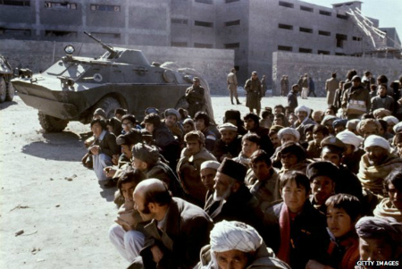 Afghans outside Pul-i-Charki prison in January 1980