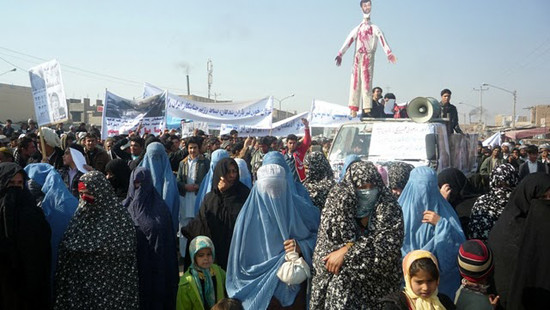 Afghans of the Solidarity Party of Afghanistan protest against Iranian regime killing political Iranian prisoners