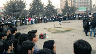 Hundreds of Residents of Kabul city staged protest against recent incident of mortar shell attack in Maidan Wardak province