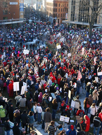 An estimated 65,000 protestors descended on Wisconsin's legislature on Feb. 19, 2011 in the fifth day of mass demonstrations against a Republican plan to bust public workers unions
