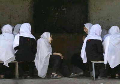 Afghan girls in a school