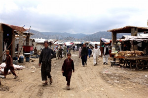 The growing permanence of the Golan refugee camp in Afghanistan's Khost province can be seen in the bazaar that has sprung up in the camp