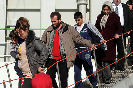 Rescued migrants in Greece