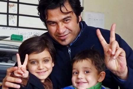Sardar Ahmad in the AFP office in Kabul hours before he, his wife and two of his children were killed