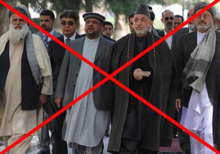 Afghan President Hamid Karzai and Abdul Rab Rasoul Sayaf, a former warlord with a controversial past, at the presidential palace in Kabul