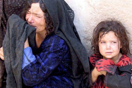 An Afghan woman mourns
