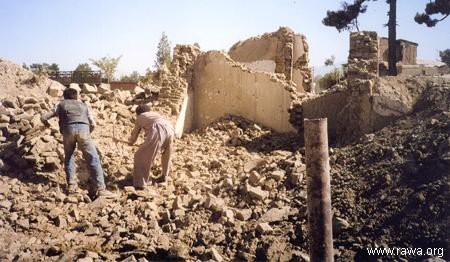 Houses of poor people in Sherpur in 2003 when it was bulldozed by powerful warlrods