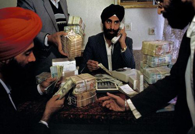Sikhs and Hindus run currency-exchange kiosks