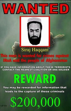 200,000-USD reward for the arrest of Haqqani