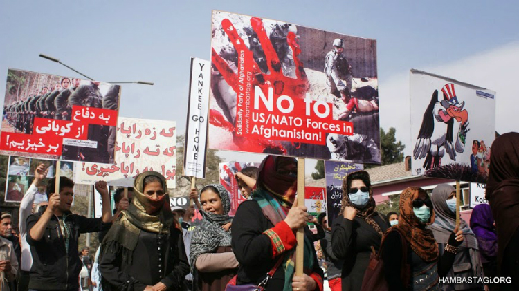 The Solidarity Party of Afghanistan (SPA) held a demonstration in Kabul denouncing the US occupation of Afghanistan on its thirteenth year, and in support of the people of Kobani fighting against ISIS
