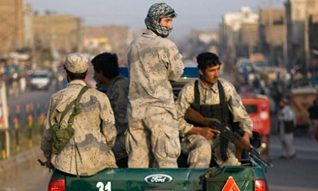 Afghan special police forces on patrol in Herat
