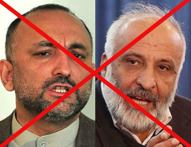 Hanif Atmar (left) and Masoon Stanekzai talk to the Taliban frequently, despite the Taliban terrorist attacks that have left hundreds and thousands dead and injured across the country