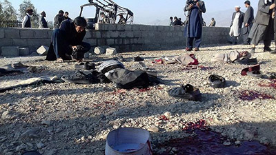 Scene of suicide attack in Khewa district in Nengrahar province