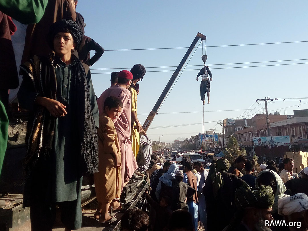 Sep.25,2021 - Herat: Taliban kill 4 people and hang their bodies on public display in different parts of the city. They were accused of kidnapping.