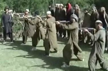 A screen grab from a propaganda video released by the Taliban shows a training camp in Afghanistan along the Pakistani border