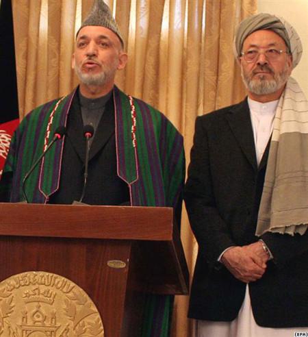 Vice pesident Karim Khalili with Karzai