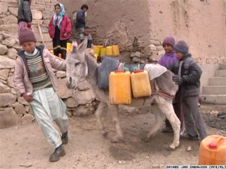 After the canisters have been filled, children use donkeys to carry the water back uphill