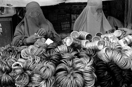 Women shopping for bangles at a bazaar, Kandahar