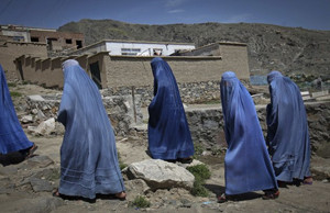 Women in burqa walking in Afghanistan