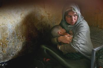 Habiba with her child in prison
