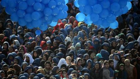 Women gather at the famous Hazrat-e-Ali shrine in Mazar-e Sharif for Nowruz festivities last year