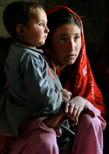 Young Afghan mother with child
