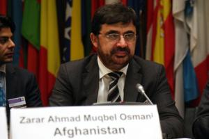 Afghanistan's Minister for Counter Narcotics, Zarar Ahmad Moqbel Osmani at an OSCE conference
