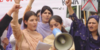 RAWA protest rally on the Black Day of April 28 (Apr.27, 2004)
